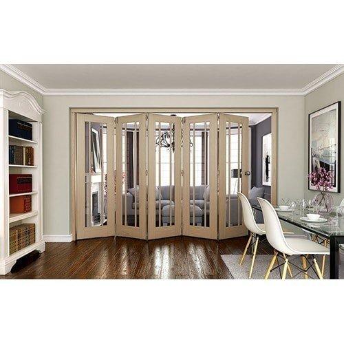 DoorsDirect2u JELD-WEN 5 Door Worcester White Oak Clear Glazed Roomfold Doorset