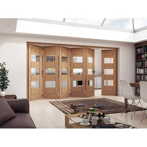 DoorsDirect2u JELD-WEN 6 Door Cottage White Oak Horizontal Clear Glazed Roomfold Doorset