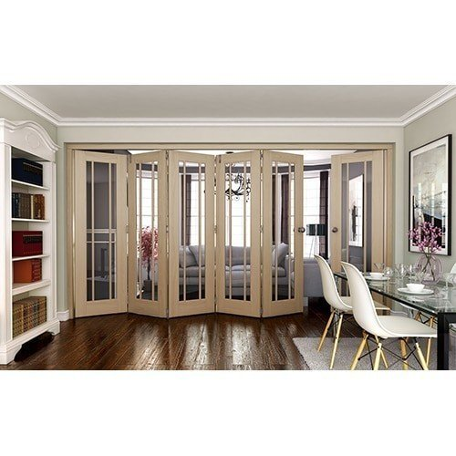 DoorsDirect2u JELD-WEN 6 Door Worcester White Oak Clear Glazed Roomfold Doorset