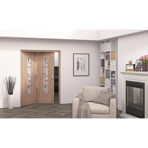 DoorsDirect2u JELD-WEN 2 Door Mackintosh 4 Lite Glazed Roomfold Doorset