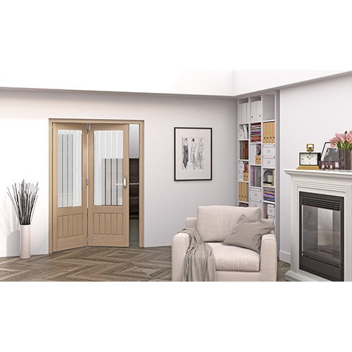 DoorsDirect2u JELD-WEN 2 Door Cottage Etched Glazed Roomfold Doorset