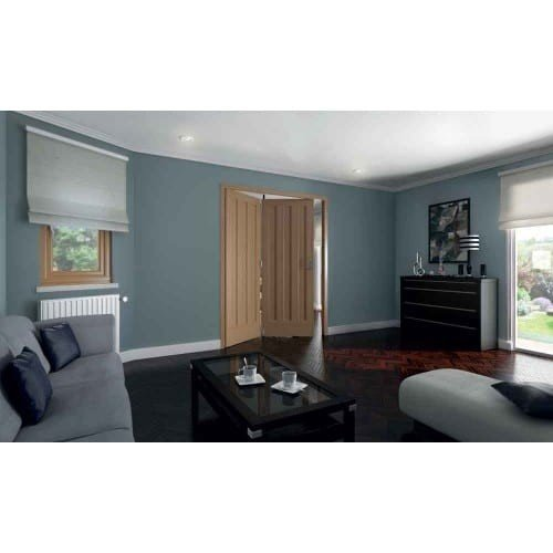 DoorsDirect2u JELD-WEN 2 Door Aston White Oak 3 Panel Roomfold Doorset