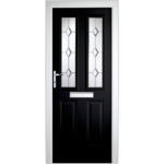 DoorsDirect2u Green Composite Colonial Glazed Front Door