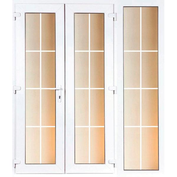 DoorsDirect2u 1500MM PVCu Georgian French Door and 600MM Sidelite Combination