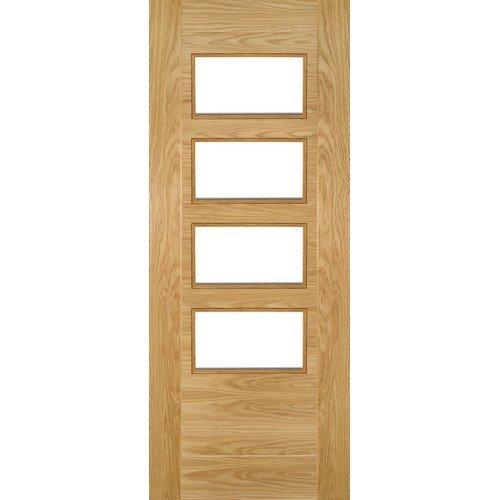 DoorsDirect2u Deanta Seville Oak Glazed 4L Prefinished Internal Door