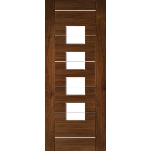 DoorsDirect2u Deanta Valencia Walnut Glazed Prefinished Internal Door