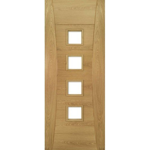 DoorsDirect2u Deanta Pamplona Oak Glazed Prefinished Internal Fire Door