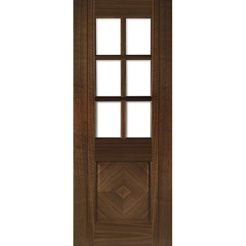 DoorsDirect2u Deanta Kensington Walnut Glazed Prefinished Internal Door