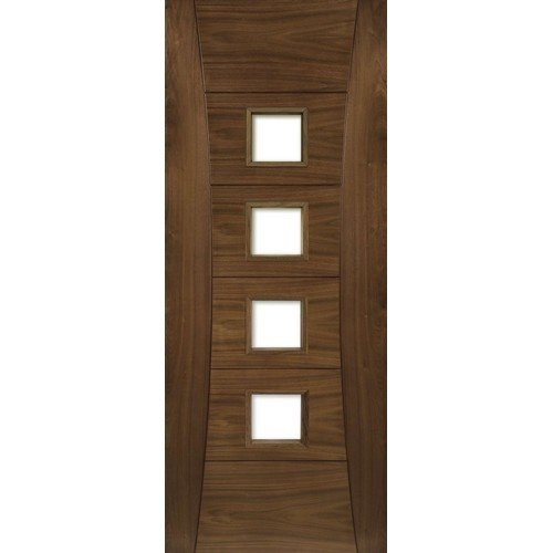 DoorsDirect2u Deanta Pamplona Glazed Walnut Prefinished Internal Fire Door