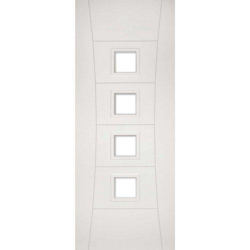 DoorsDirect2u Deanta Pamplona White Primed Glazed Internal Fire Door