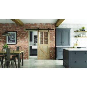 DoorsDirect2u JELD-WEN Framed Ledged and Braced Clear Glazed Sliding Barn Door