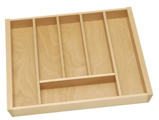 Beech cutlery insert for 600mm cabinet using Tandembox.