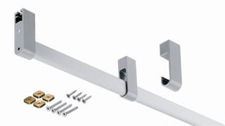 Aluminium Wardrobe Rail Inc Fixing Hardware For up to 900mm Cabinet