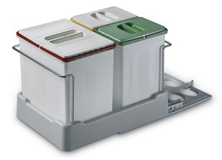 Pull Out Waste Bin with Three Compartments