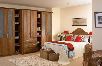 Beaded Brisbane bedroom in Medium Walnut finish