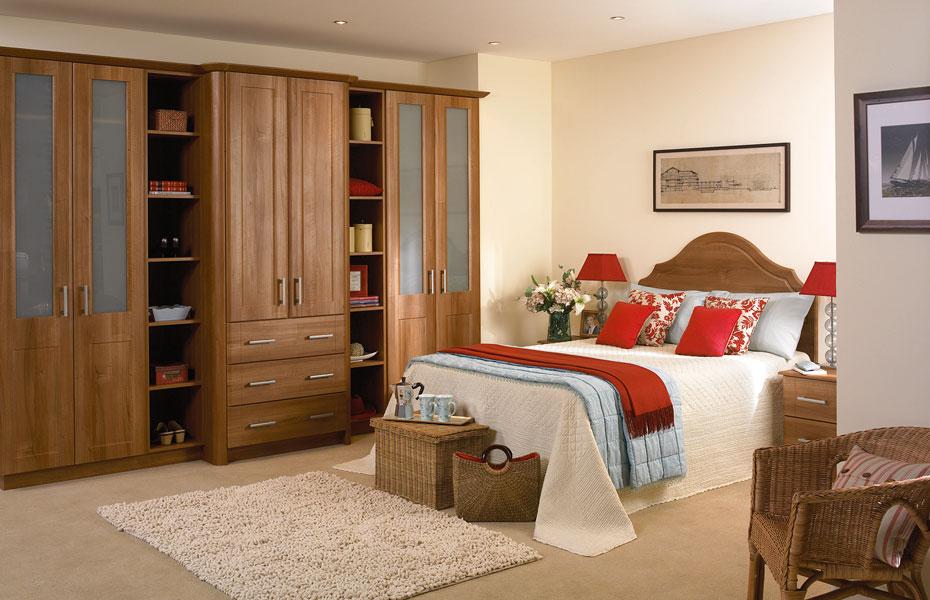 Beaded Brisbane Wardrobe Doors In Medium Walnut By Homestyle