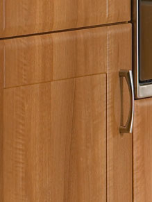Close up of Shaker Auckland kitchen doors in Medium Walnut