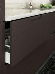 Close up of Handleless Overton kitchen doors in Horizontal Melinga Oak (discontinued)