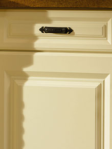 Close up of Premier Calcutta kitchen doors in Vanilla