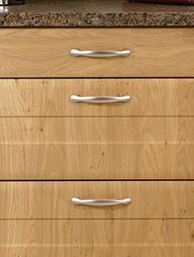 Close up of Shaker Auckland kitchen doors in Winchester Oak