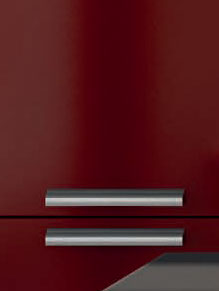 Close up of High Gloss Burgundy kitchen