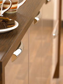 Close up of Premier Duleek kitchen doors in High Gloss Cappuccino