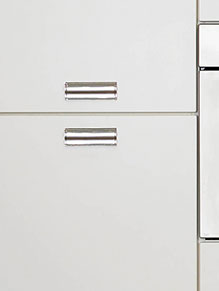 Close up of Premier Letterbox kitchen doors in High Gloss Ivory