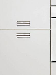Close up of High Gloss Ivory kitchen