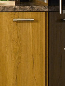 Close up of Teak and High Gloss Black kitchen