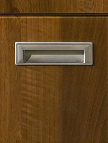 Close up of Premier Letterbox kitchen doors in Dark Walnut
