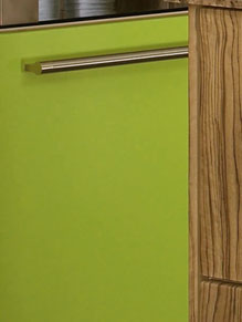Close up of Premier Duleek kitchen doors in Olivewood and Gloss Lime Green