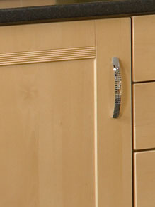 Close up of Shaker Ribbed kitchen doors in Sandy Birch