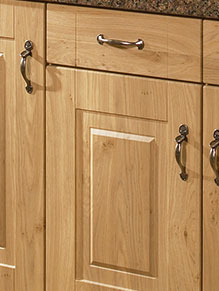 Close up of Premier Rosapenna kitchen doors in Winchester Oak