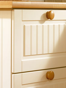 Close up of Premier Stockholm kitchen doors in Hornschurch Ivory