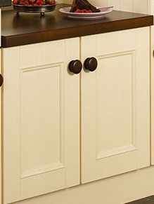 Close up of Beaded Vienna kitchen doors in Cream Ash