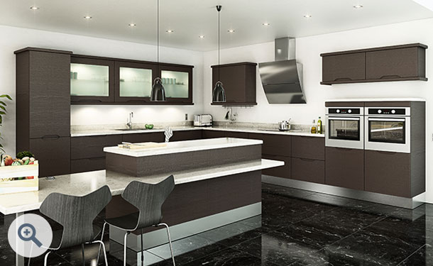 Horizontal Melinga Oak kitchen picture