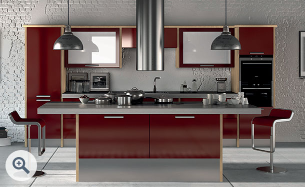 High Gloss Burgundy kitchen picture