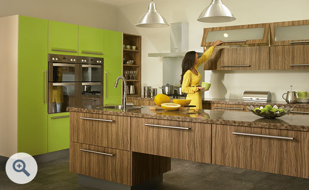 Olivewood and Gloss Lime Green kitchen picture