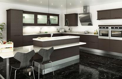 Handleless Overton kitchen doors in Horizontal Melinga Oak (discontinued)