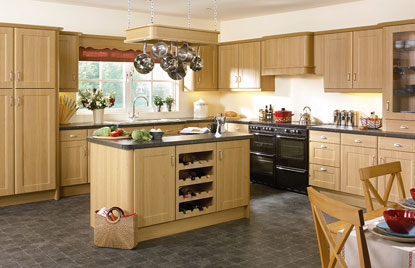 Beaded Brisbane kitchen doors in Lissa Oak