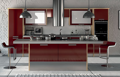 Premier Duleek kitchen in High Gloss Burgundy finish