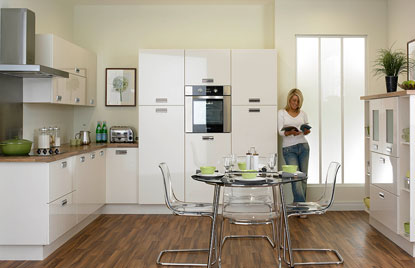 Premier Letterbox kitchen doors in High Gloss Ivory