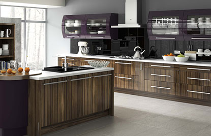 Premier Duleek kitchen doors in High Gloss Tiepolo and High Gloss Aubergine