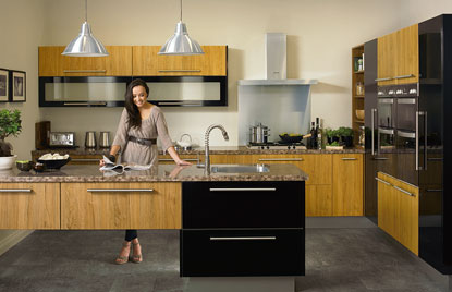 Premier Duleek kitchen in Teak and High Gloss Black finish