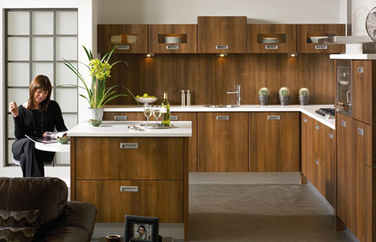 Premier Letterbox kitchen doors in Dark Walnut