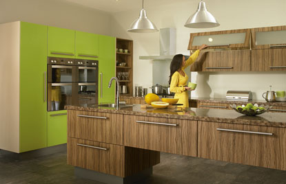 Premier Duleek kitchen in Olivewood and Gloss Lime Green