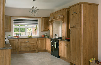 Beaded Normandy kitchen in Teak finish