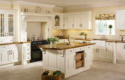 Beaded Prague kitchen in Hornschurch Ivory finish