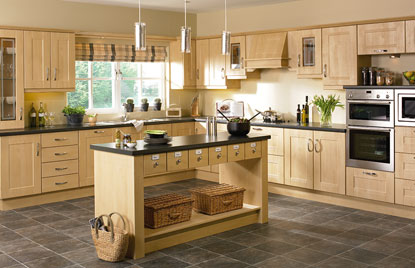Shaker Ribbed kitchen in Sandy Birch finish