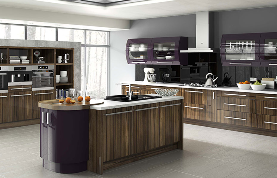Premier Duleek Kitchen Doors In High Gloss Tiepolo And High Gloss Aubergine By Homestyle